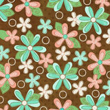 Aqua and Brown Floral Design Stock Photography