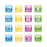 Aqua building icons. Vector file has layers, all icons in four versions are included Stock Photography