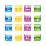 Aqua business icons. Vector file has layers, all icons in four versions are included Stock Photo
