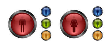 Aqua button-male and female Stock Photos