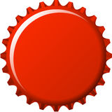 Aqua button in red crown cap. Aqua button badge in red crown cap Royalty Free Stock Photography