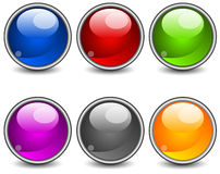 Aqua buttons. Aqua stiled glossy buttons, vector round web icons on white Stock Photography
