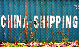 Aqua China delivery container textured background Royalty Free Stock Photos