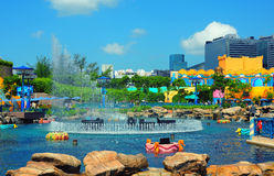 Aqua city fountain at ocean park hong kong Stock Photo