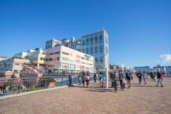 Aqua City Odaiba e costruzione di Fuji TV immagini stock