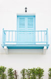 Aqua Closed Door With Balcony. Royalty Free Stock Image