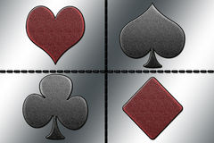 Aqua clubs, hearts, diamonds and spades Royalty Free Stock Image
