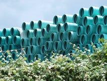 Aqua Coded Sewar Pipes Storage Stock Image