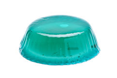Aqua color mint jelly isolated on the white background. Blue color mint jelly on the white background Royalty Free Stock Photography