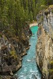 Bow River Banff National Park Canada. Aqua colored water flows from the falls between grand Canadian Rocky Mountains along the Bow River in Banff National Park Royalty Free Stock Image