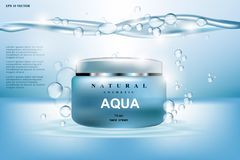 Aqua Cream Moisturizing cosmetic ads template. Hydrating facial lotion. Mockup 3D Realistic illustration. Sparkling. Water drops Royalty Free Stock Photography