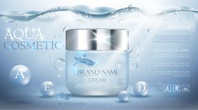 Aqua cream moisturizing cosmetic.  Advertising realistic underwater blue template. Royalty Free Stock Images