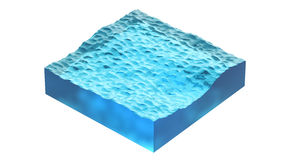 Aqua cube of ocean or sea water. 3d Illustration, isolated on white background. Royalty Free Stock Photography