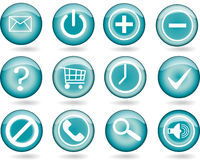 Aqua cyan bubble button Royalty Free Stock Image
