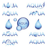 Aqua design element. Set of abstract water icon with drops Royalty Free Stock Photos