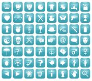 Aqua Downy Icon Set 1. Illustration of 56 Aqua blue icons Stock Photo
