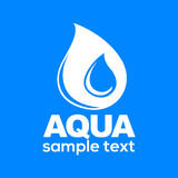 Aqua drop sign isolated on blue background vector illustration. Royalty Free Stock Image