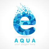 Aqua E letter logo. Water logo. Vector blue aqua splash with drops. Company branding identity for hotels, tourist business, spa, beach service, healthcare vector illustration