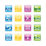 Aqua e-mail icons. Vector file has layers, all icons in four versions are included Stock Images