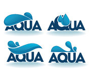 Aqua emblems Royalty Free Stock Images