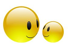 Aqua Emoticons - Friendship [alternate version]. Two shiny emoticons on white background smiling at each other in friendship Stock Photo