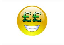 Aqua Emoticons - Pound Signs (Money). A shiny yellow face frowning Royalty Free Stock Photos
