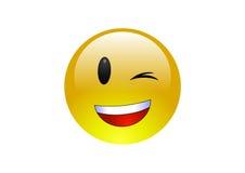 Aqua Emoticons - Wink 2. A glossy yellow emoticon winking Stock Photos