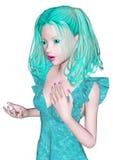 Aqua-färgad flicka Fotografering för Bildbyråer