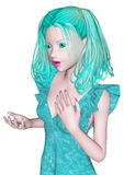 Aqua-farbiges Mädchen Stockbild
