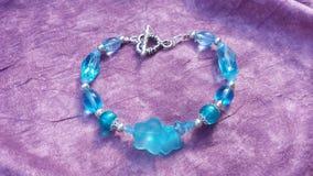 Aqua floral beaded bracelet Royalty Free Stock Image