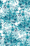 Aqua flowers, seamless design, botanical pattern. Royalty Free Stock Images