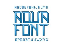 Aqua font. Vector alphabet. Letters. Typeface design royalty free illustration