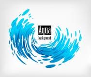 Aqua gerundeter Hintergrund, Spritzenwasser auf Weiß Lizenzfreies Stockbild