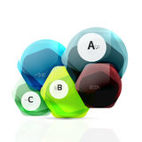 Aqua glossy glass elements. Hexagons with options Stock Images
