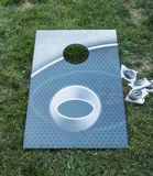 Aqua green corn hole game stock photo