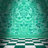Aqua Green Damask Wallpaper With Black & White Checkerboard Tile. Dramatic room with greenish-aqua flocked damask wallpaper and green and white checkerboard Royalty Free Stock Images
