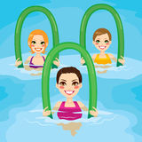 Aqua Gym Roller. Small group of women making aqua gym exercises with foam rollers in swimming pool at the leisure center vector illustration