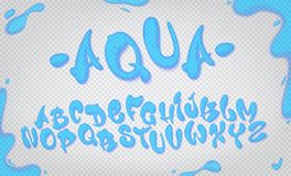 Aqua hand drawn typeset, water alphabet, vector illustration. Aqua hand drawn typeset, water alphabet, vector illustration on transparent background stock illustration