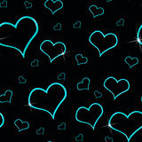 Aqua Hearts Seamless Background Stock Image