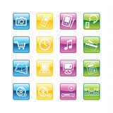 Aqua  home electronics icons Royalty Free Stock Photography