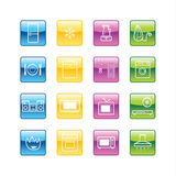 Aqua household goods icons Royalty Free Stock Photography