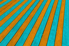Aqua i pomarańcze decking deski Zdjęcie Stock