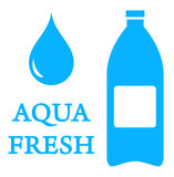 Aqua icon with bottle and water drop Royalty Free Stock Photos