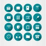 Aqua icon set. A set of illustrations of various round icons on aqua background Stock Photo