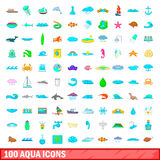100 aqua icons set, cartoon style Stock Image