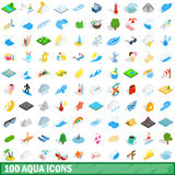 100 aqua icons set, isometric 3d style Royalty Free Stock Images