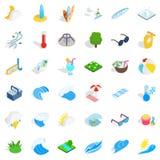 Aqua icons set, isometric style. Aqua icons set. Isometric style of 36 aqua vector icons for web isolated on white background Stock Photo