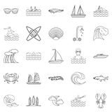 Aqua icons set, outline style. Aqua icons set. Outline set of 25 aqua vector icons for web isolated on white background Stock Photo