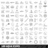 100 aqua icons set, outline style Royalty Free Stock Photo