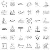 Aqua icons set, outline style Royalty Free Stock Photography